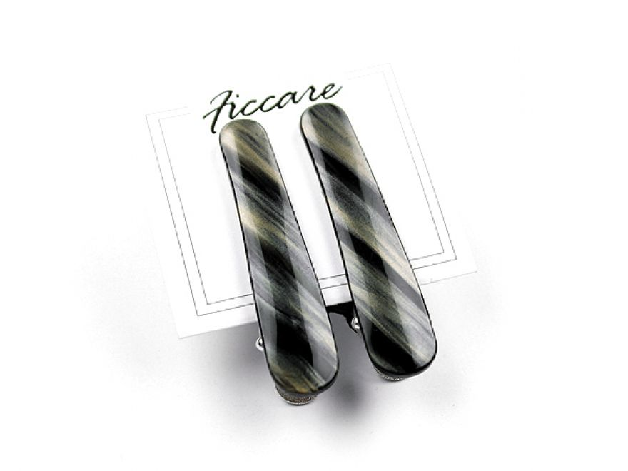 Ficcarito Mini Clips: French Acetate - Black & Silver Stripes